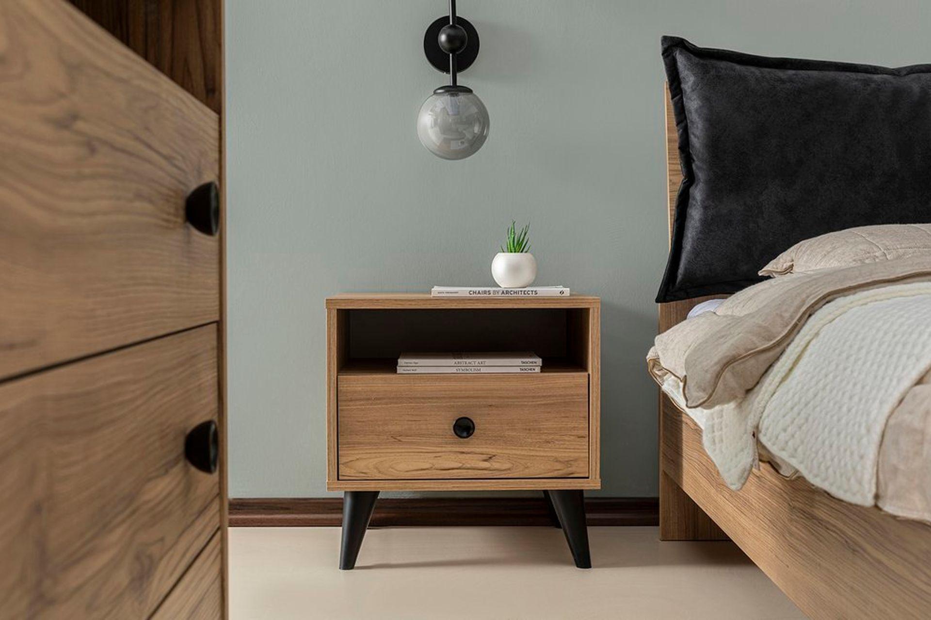 Eti Bedside Table, Light Wood & Black