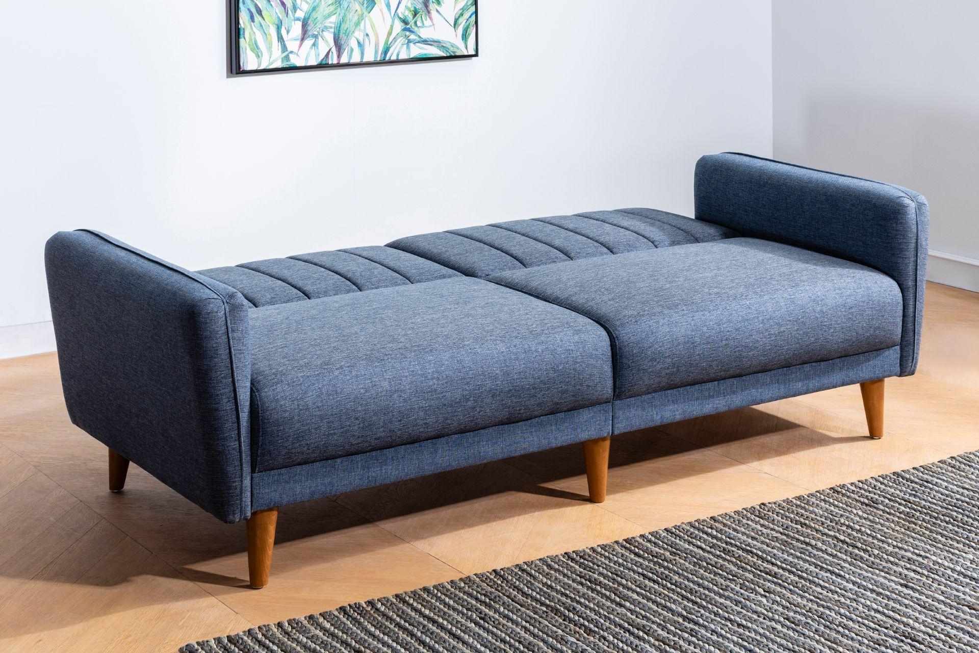 Aqua Three Seater Sofa Bed, Navy Blue