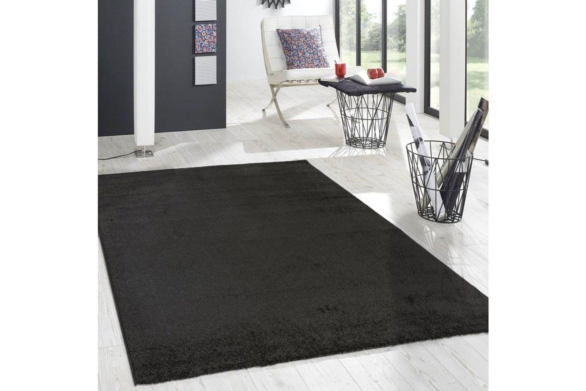 Essence Minimalist Woven Rug, 120 x 170, Black