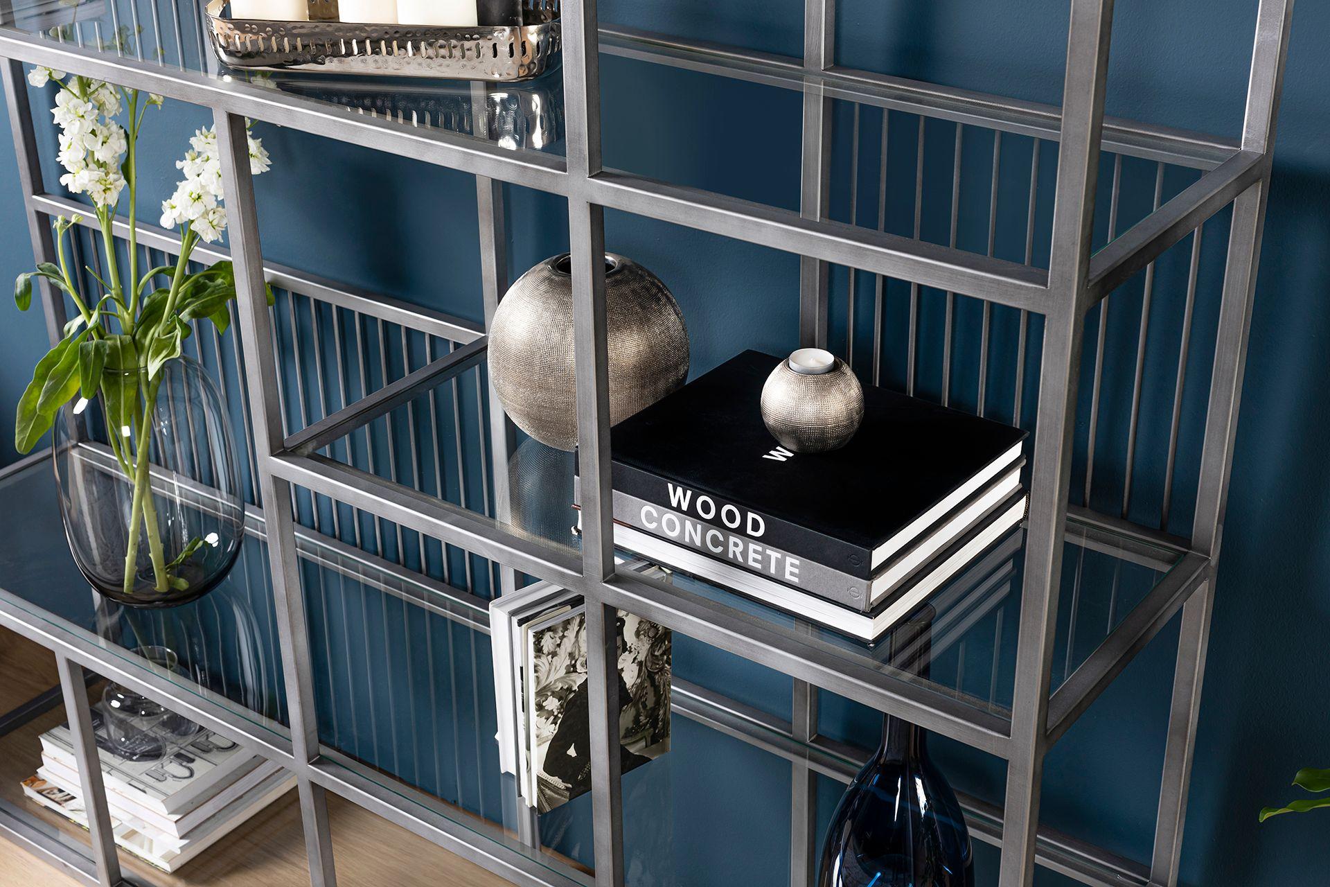 Lola Wide Bookcase, Chrome