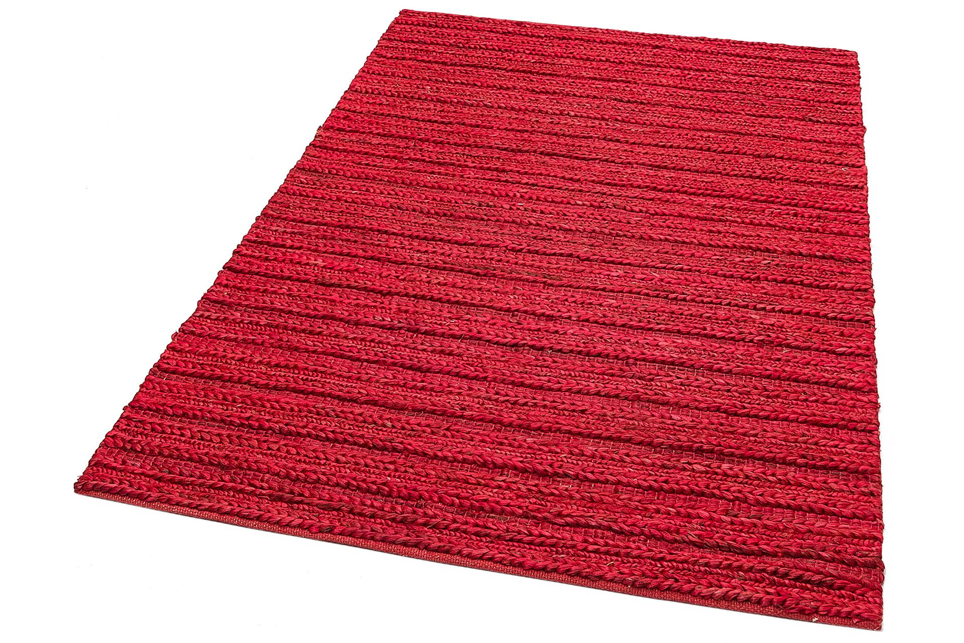 DELHİ TRİPLE RED KIRMIZI JÜT EL DOKUMA SİSAL HASIR KİLİM 120x180