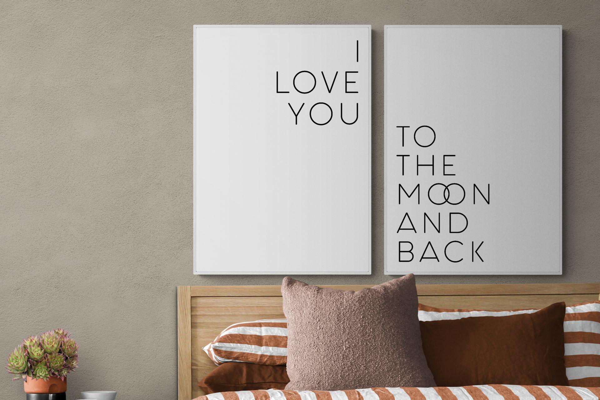 I LOVE YOU MOON THE BACK BEYAZ ÇERÇEVE TABLO SETİ 50x70