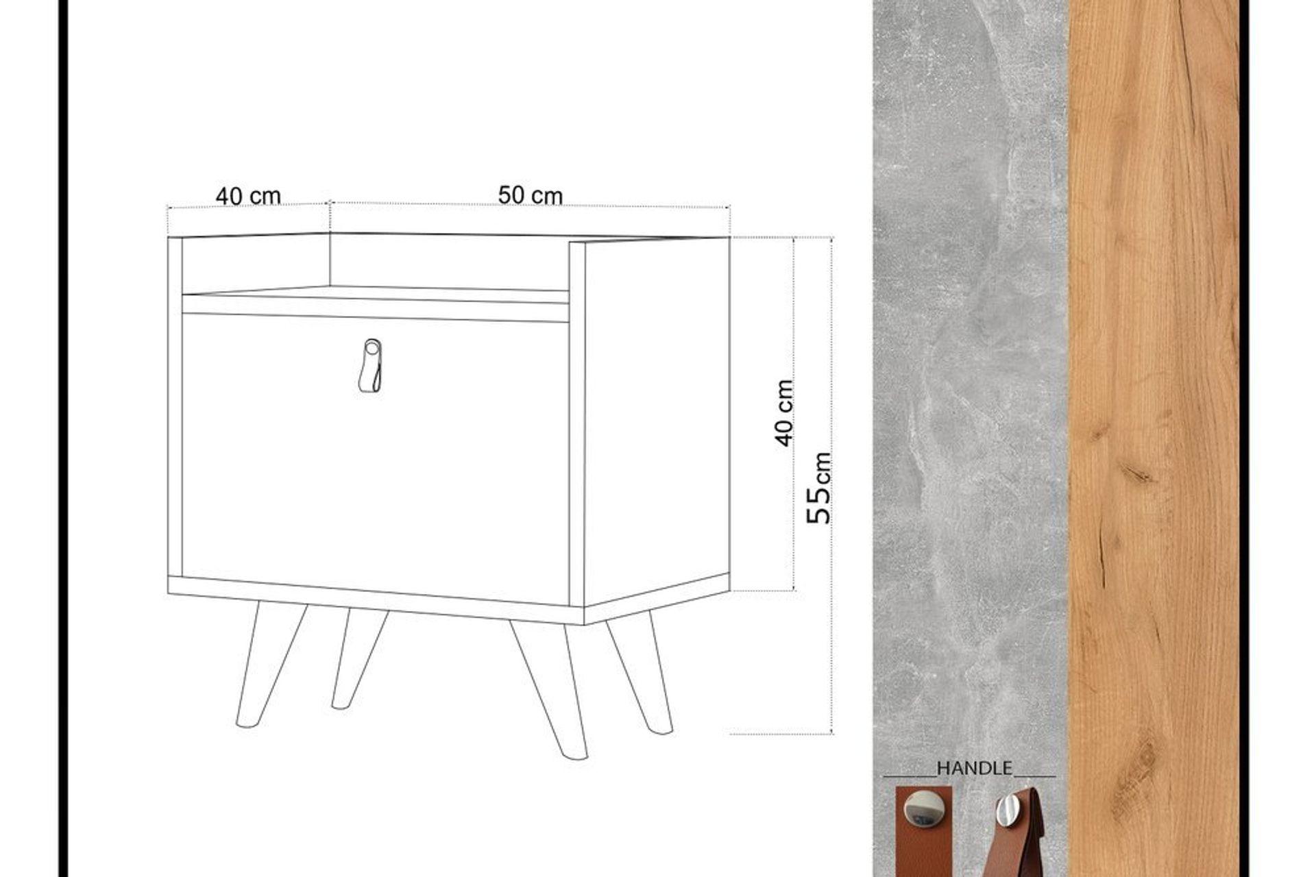 Paju Bedside Table, Light Wood & Beige