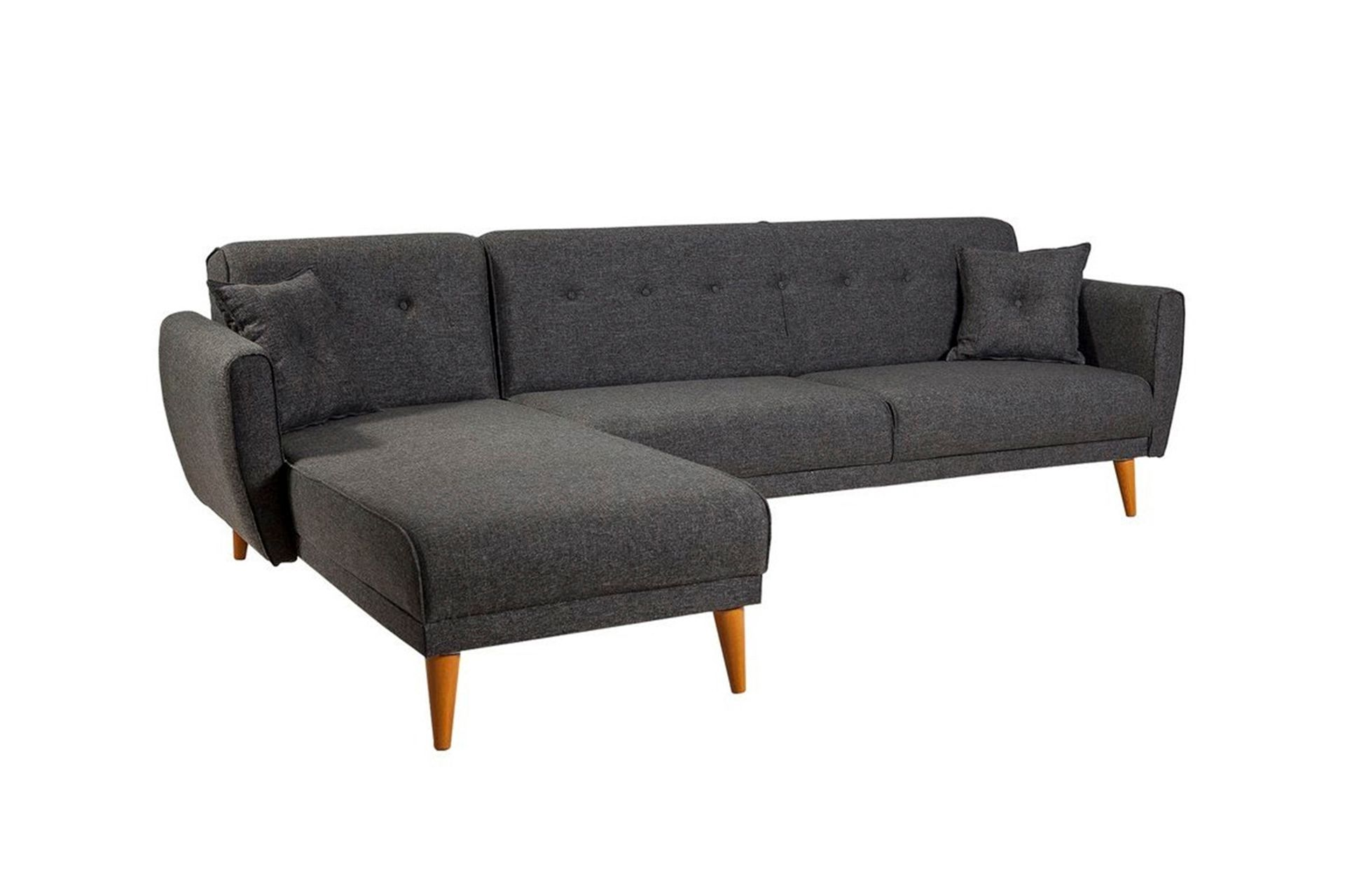 Aria Corner Chaise Sofa Bed, Left, Charcoal