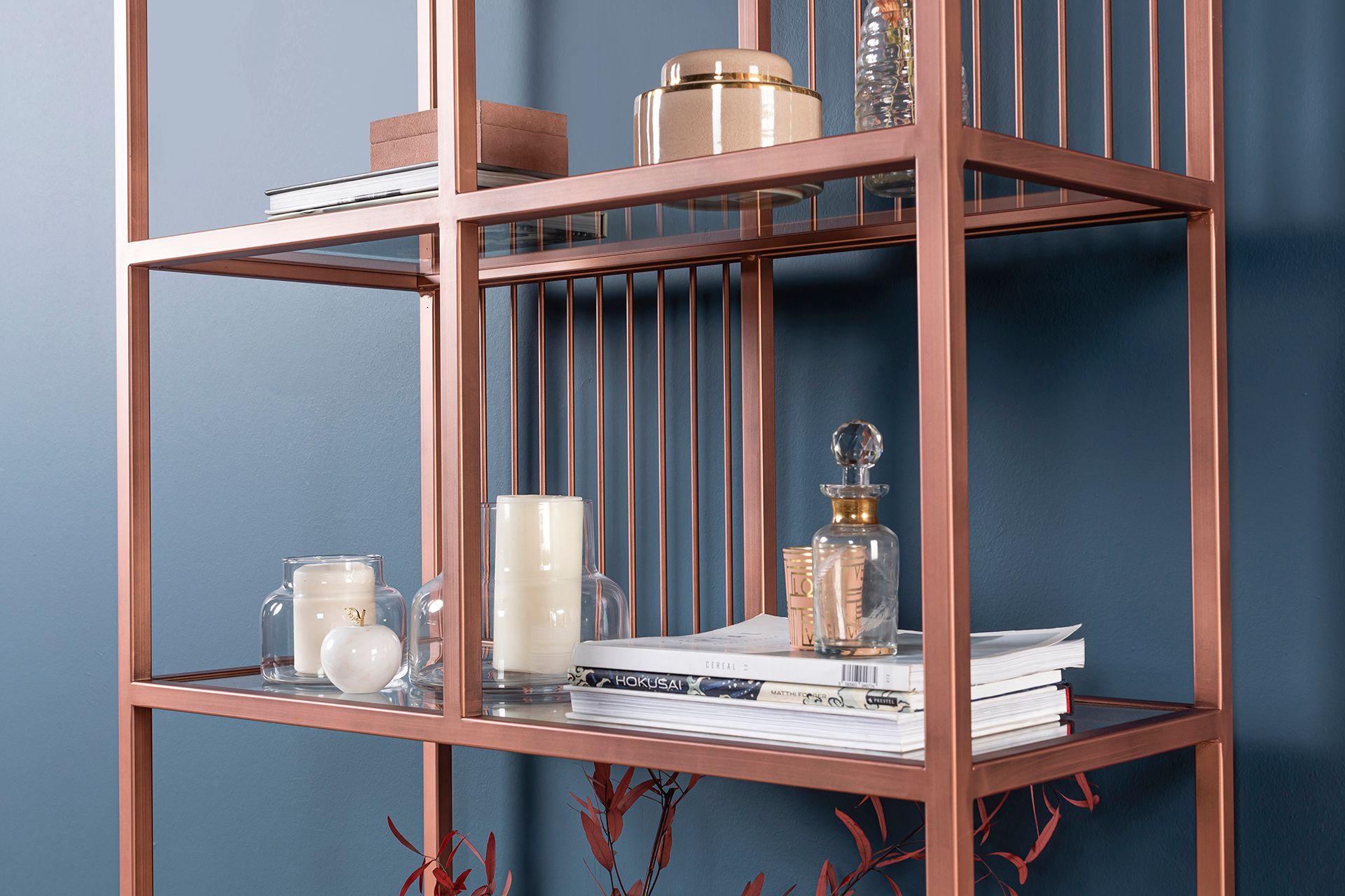 Lola Narrow Rose Gold Bookcase