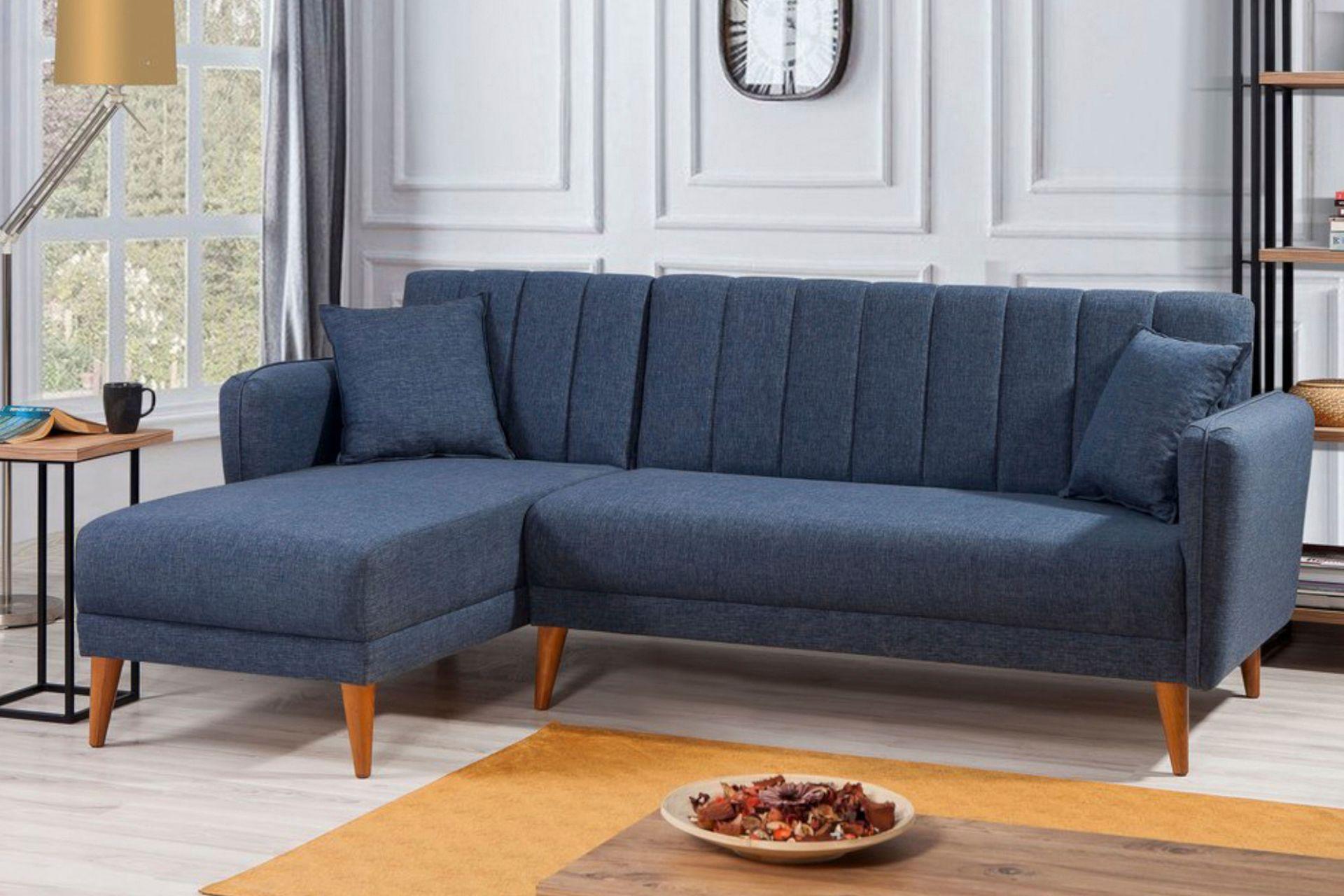 Aqua Corner Chaise Sofa Bed, Left, Navy Blue