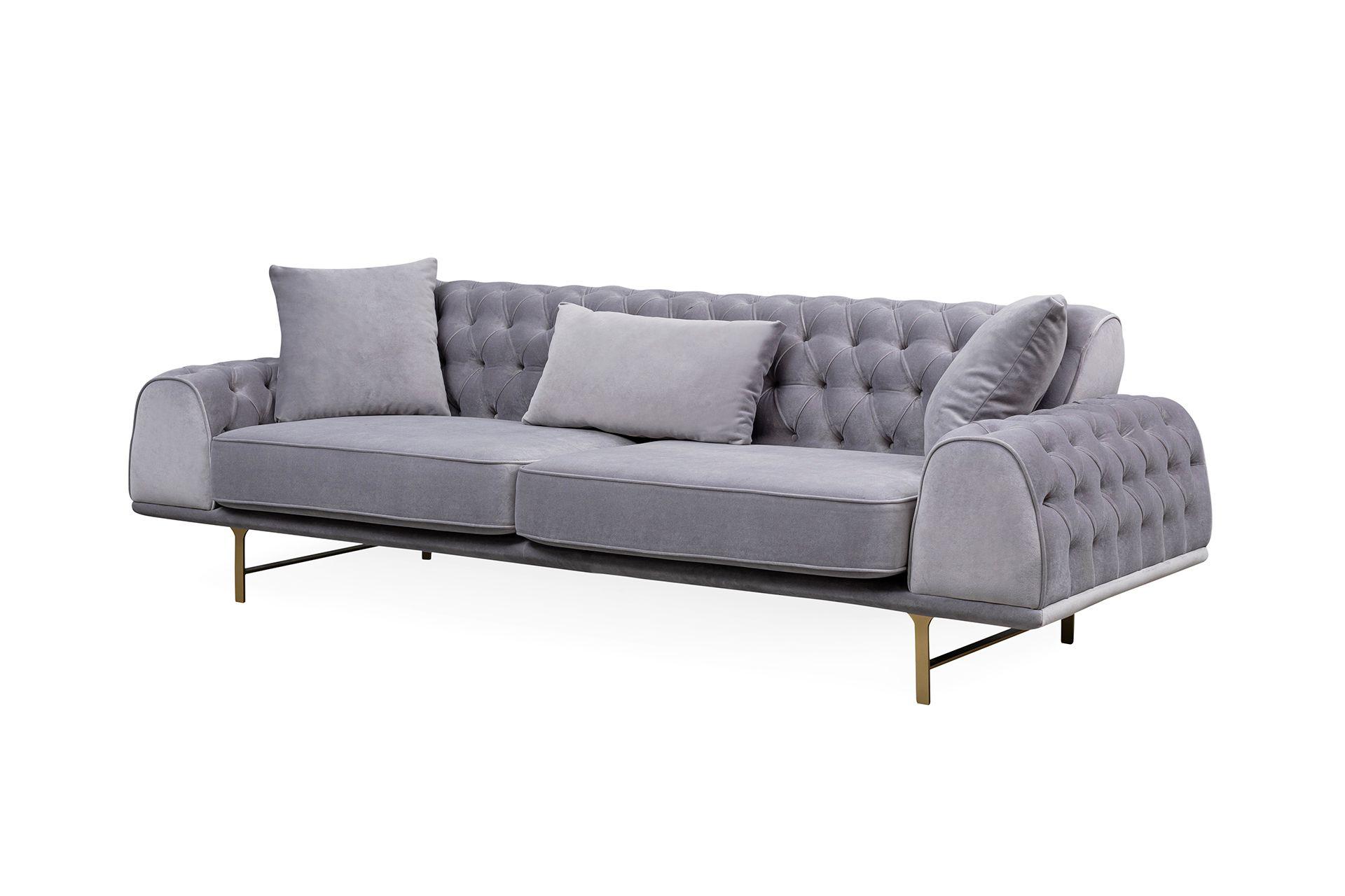 Nepal Three Seater Sofa, Grey