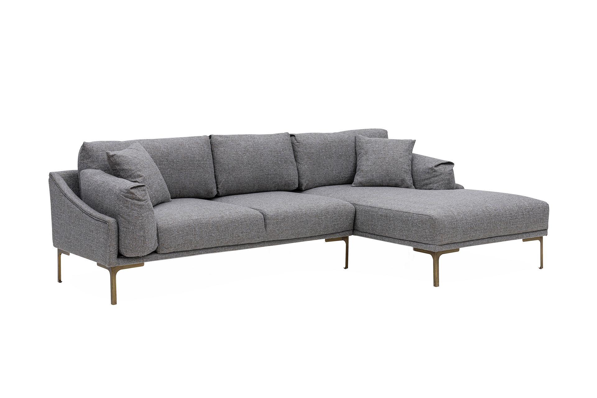Leo Corner Sofa, Grey (Right)