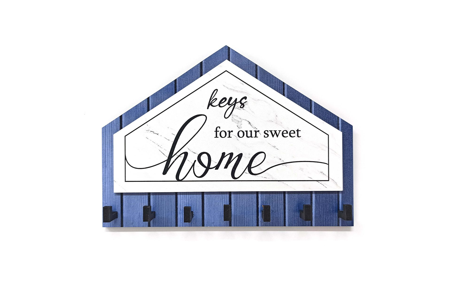 ÜÇGEN MAVİ SİYAH KEYS FOR HOME DEKORATİF AHŞAP ANAHTARLIK MODERN DEKOR