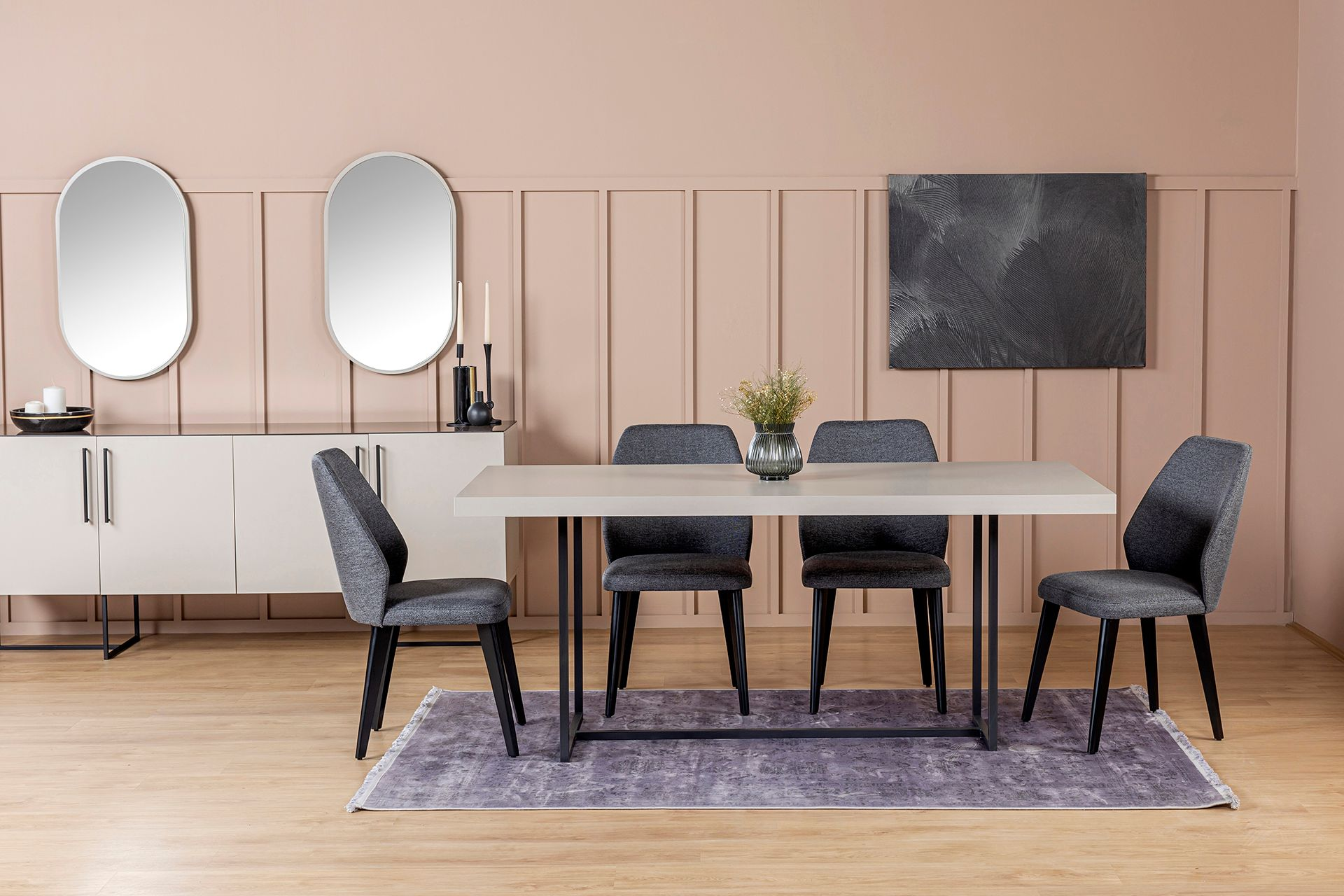 Pandora Dining Table, Sandstone