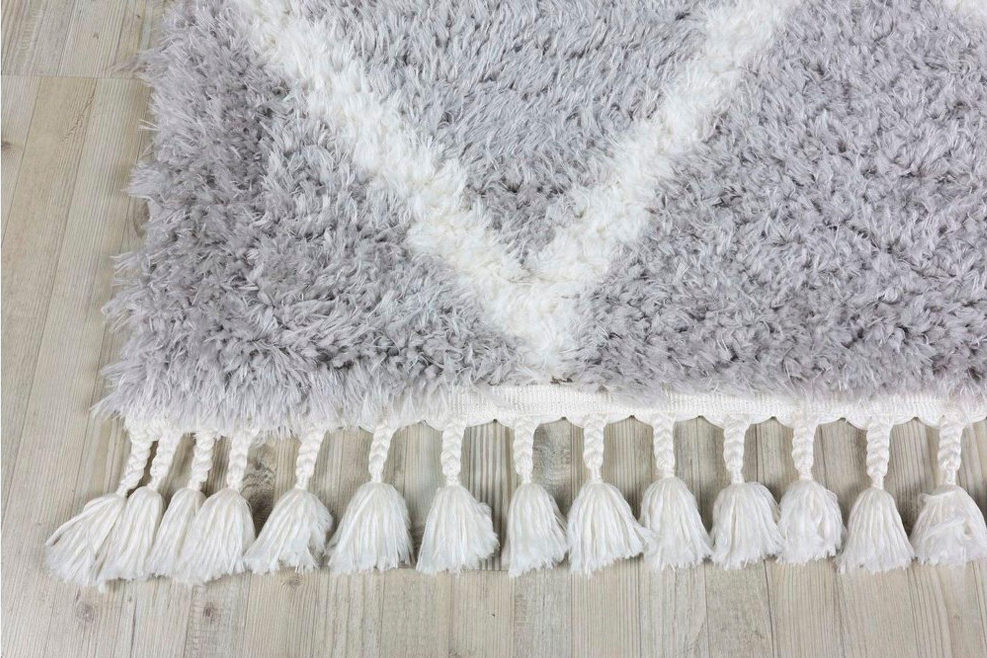 Marrakesh Line Rug, Grey & White (Medium)