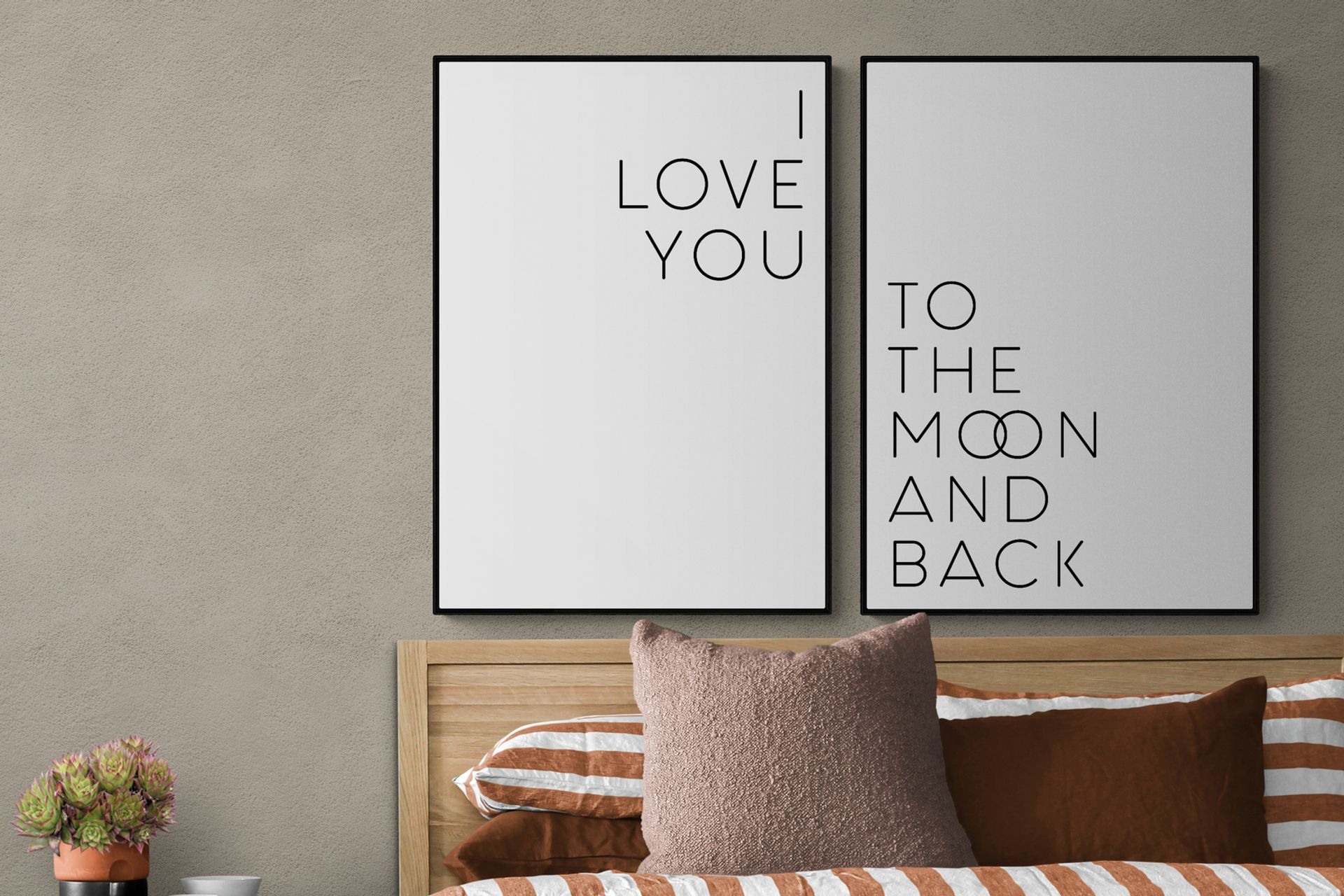 I LOVE YOU MOON THE BACK  SİYAH ÇERÇEVE TABLO SETİ 33X48