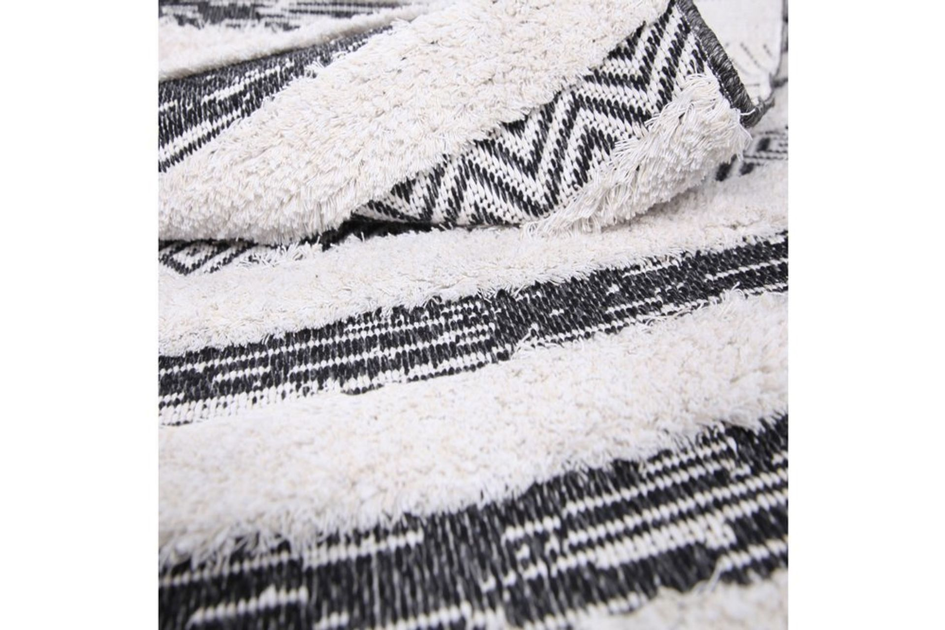Nessa Stripe Woven Rug, 75 x 150, Grey