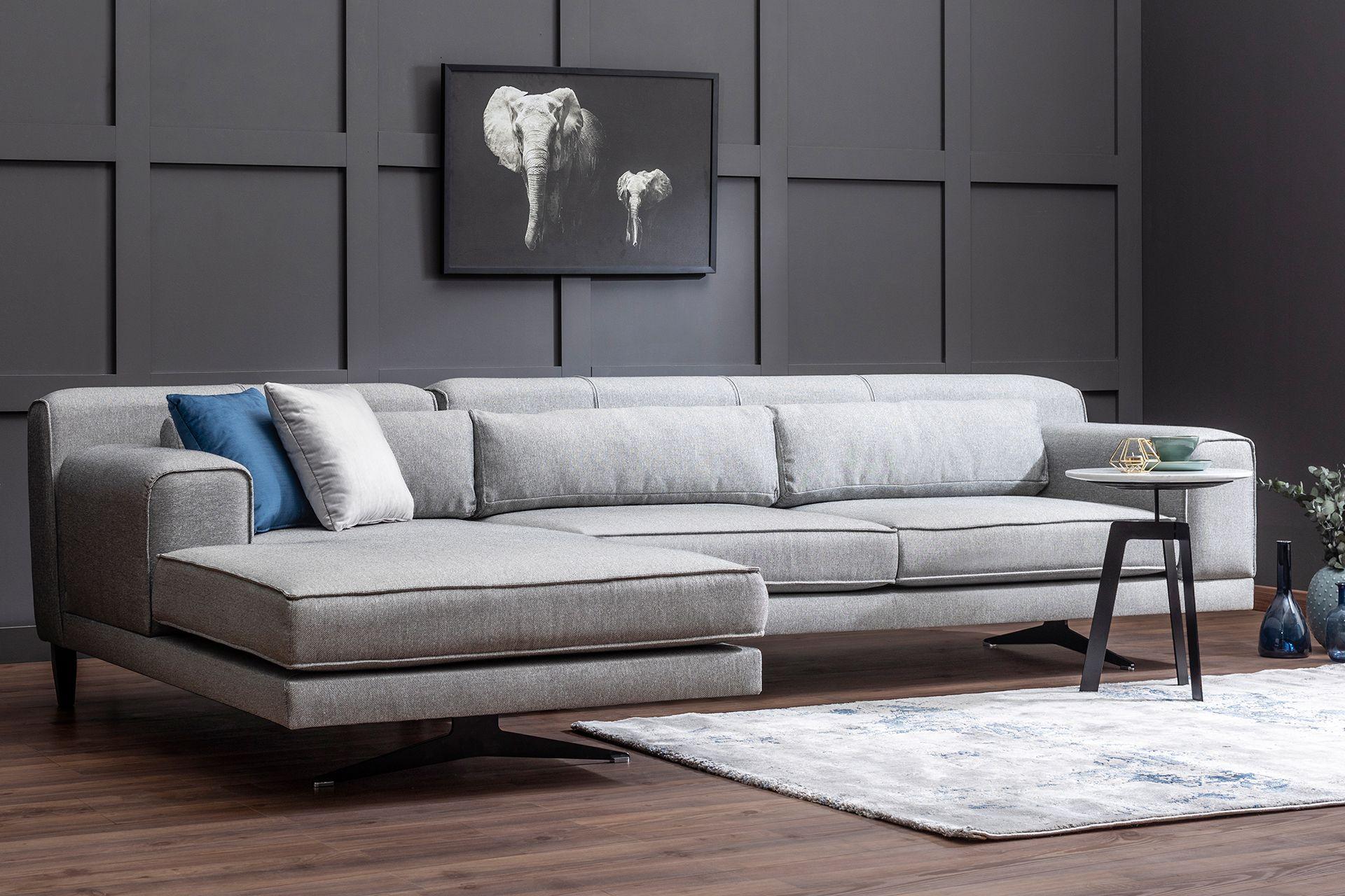 Jivago Corner Sofa, Grey (Left)