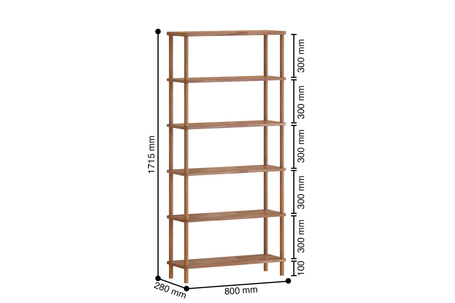 Maya Classic 6 Shelf Bookcase, (Large)