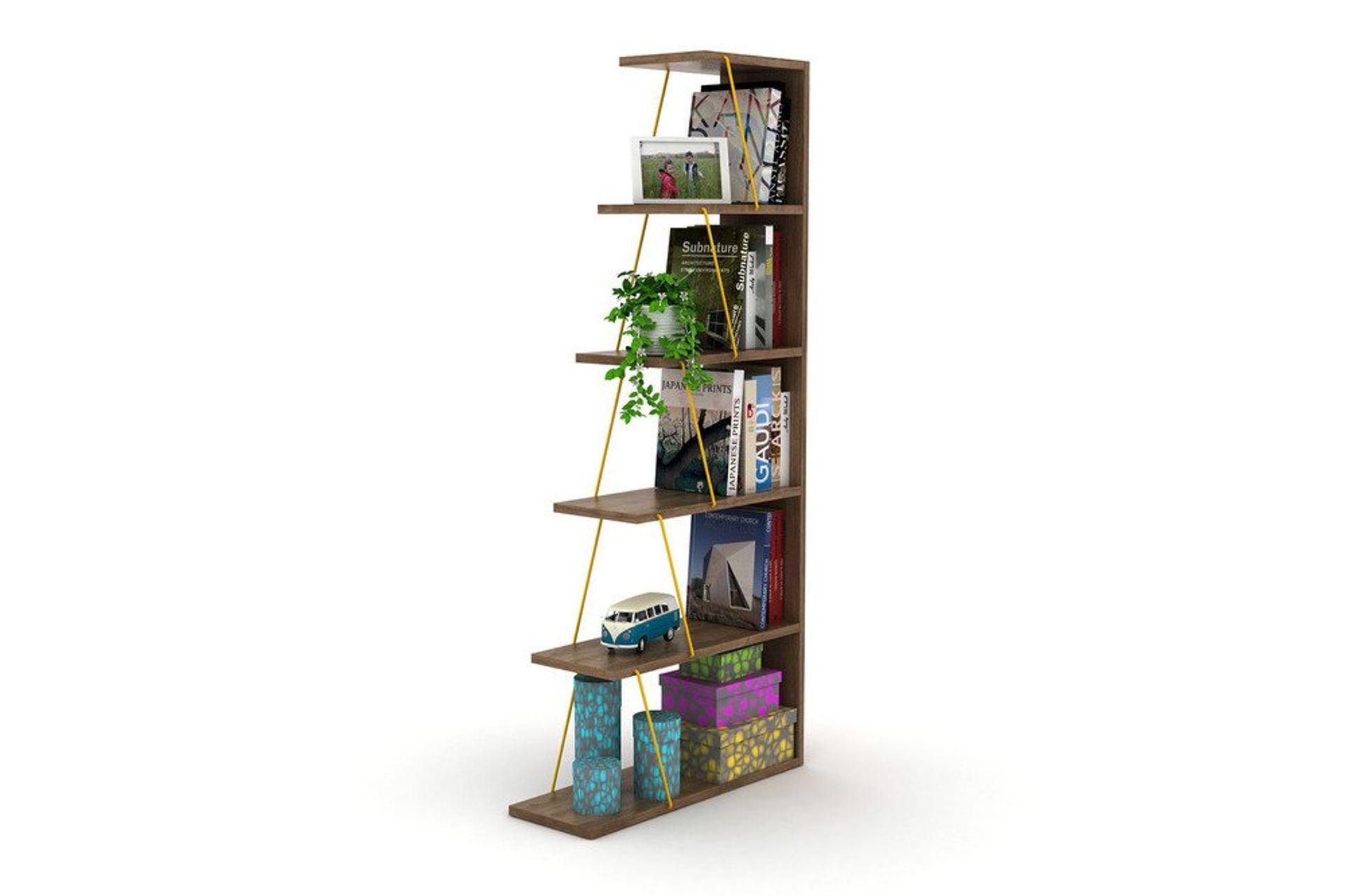 Rafevi Bookcase, Dark Wood & Yellow