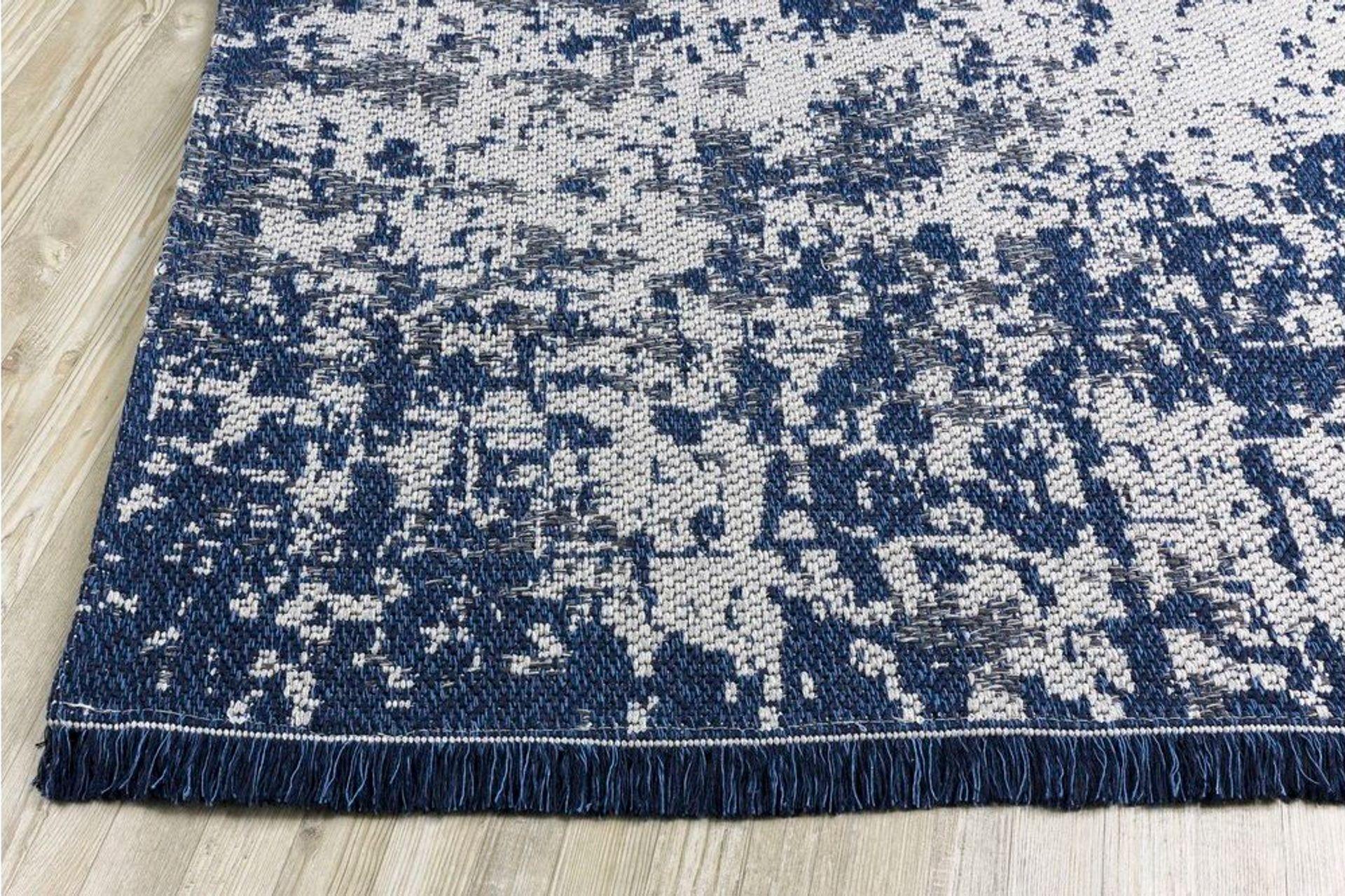 Petra Stripe Textured Woven Rug, 125 x 180, Navy
