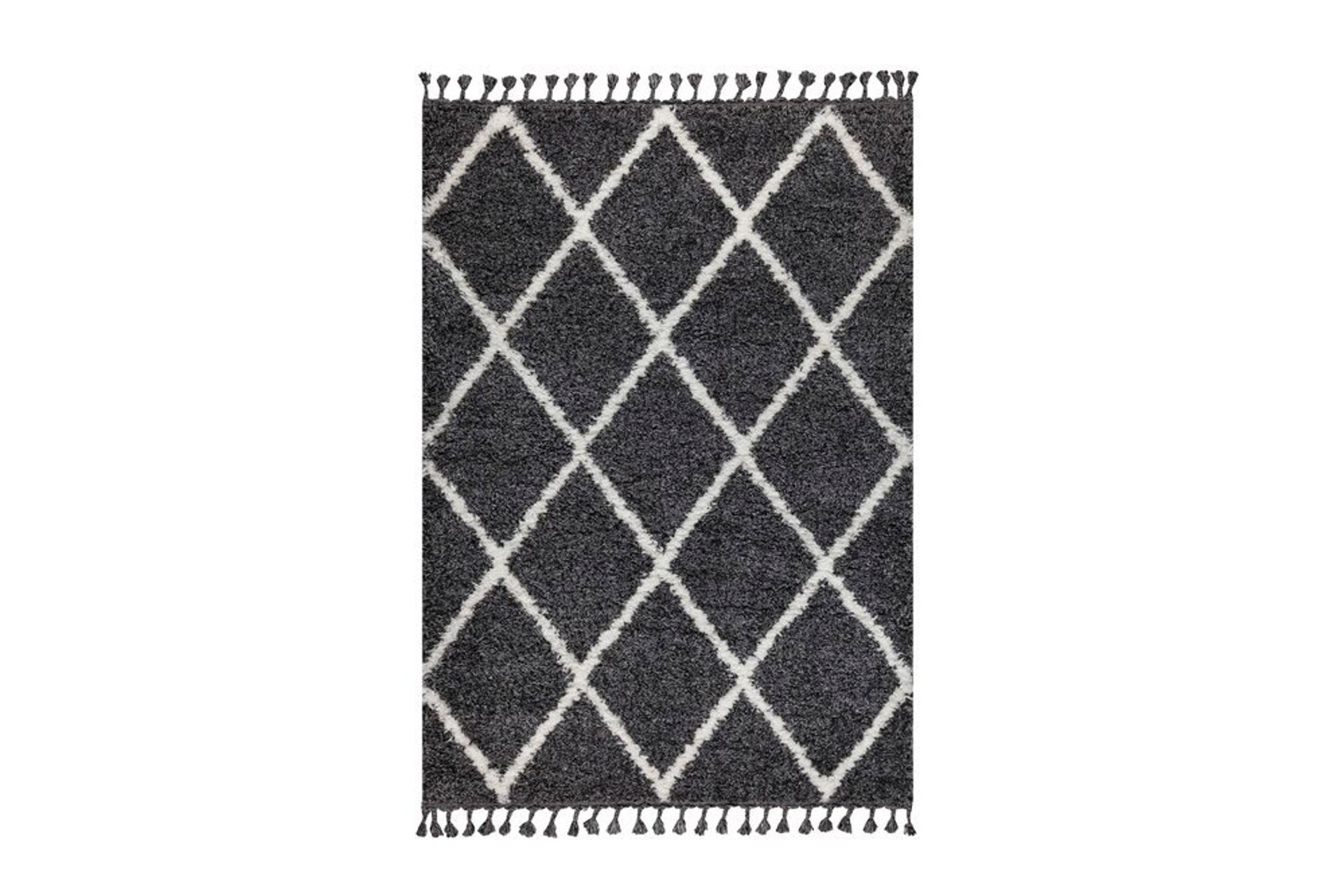 Marrakesh Line Rug, 200 x 290, Charcoal & White