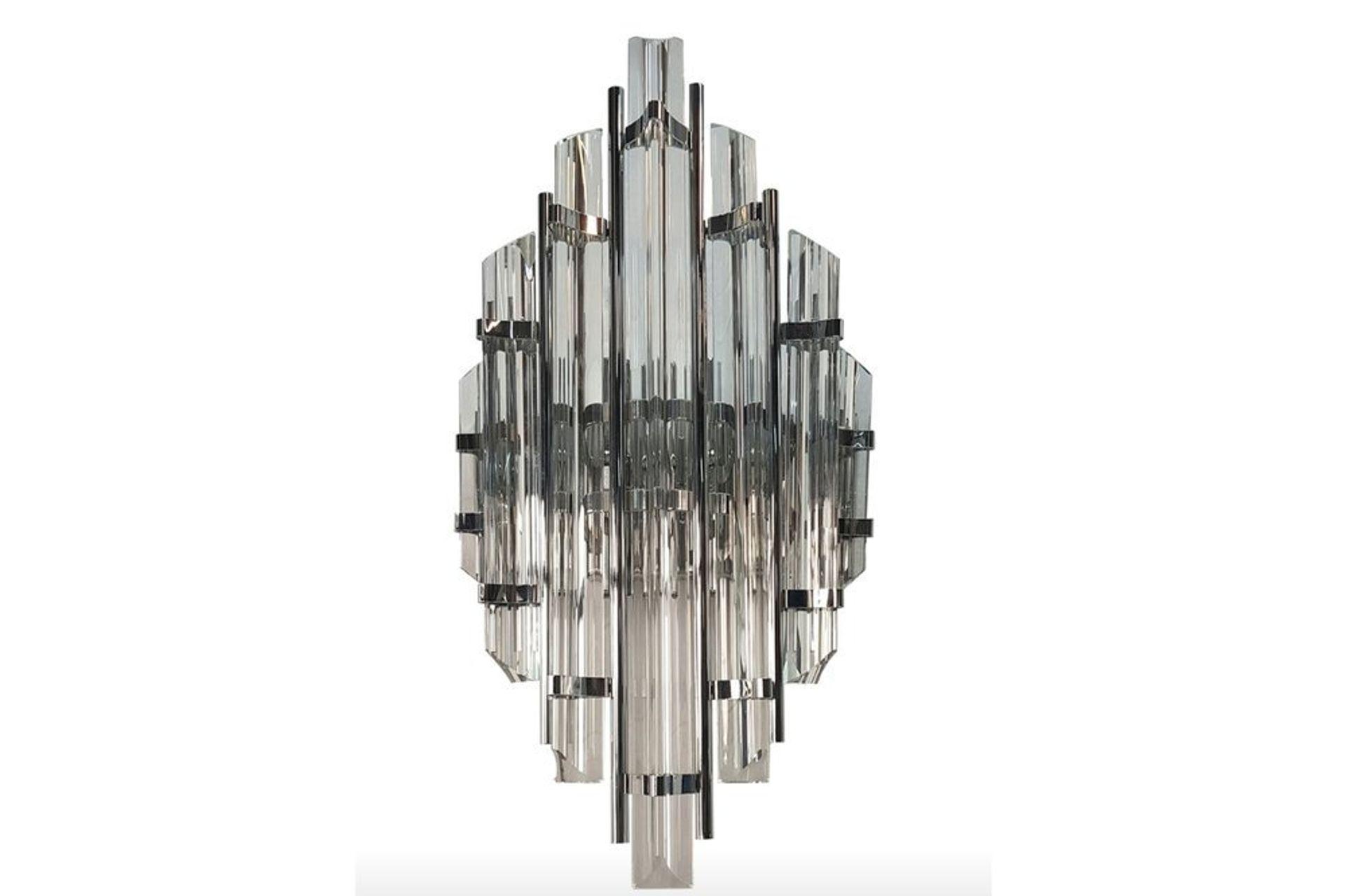 Ernest Glass Wall Light, Chrome
