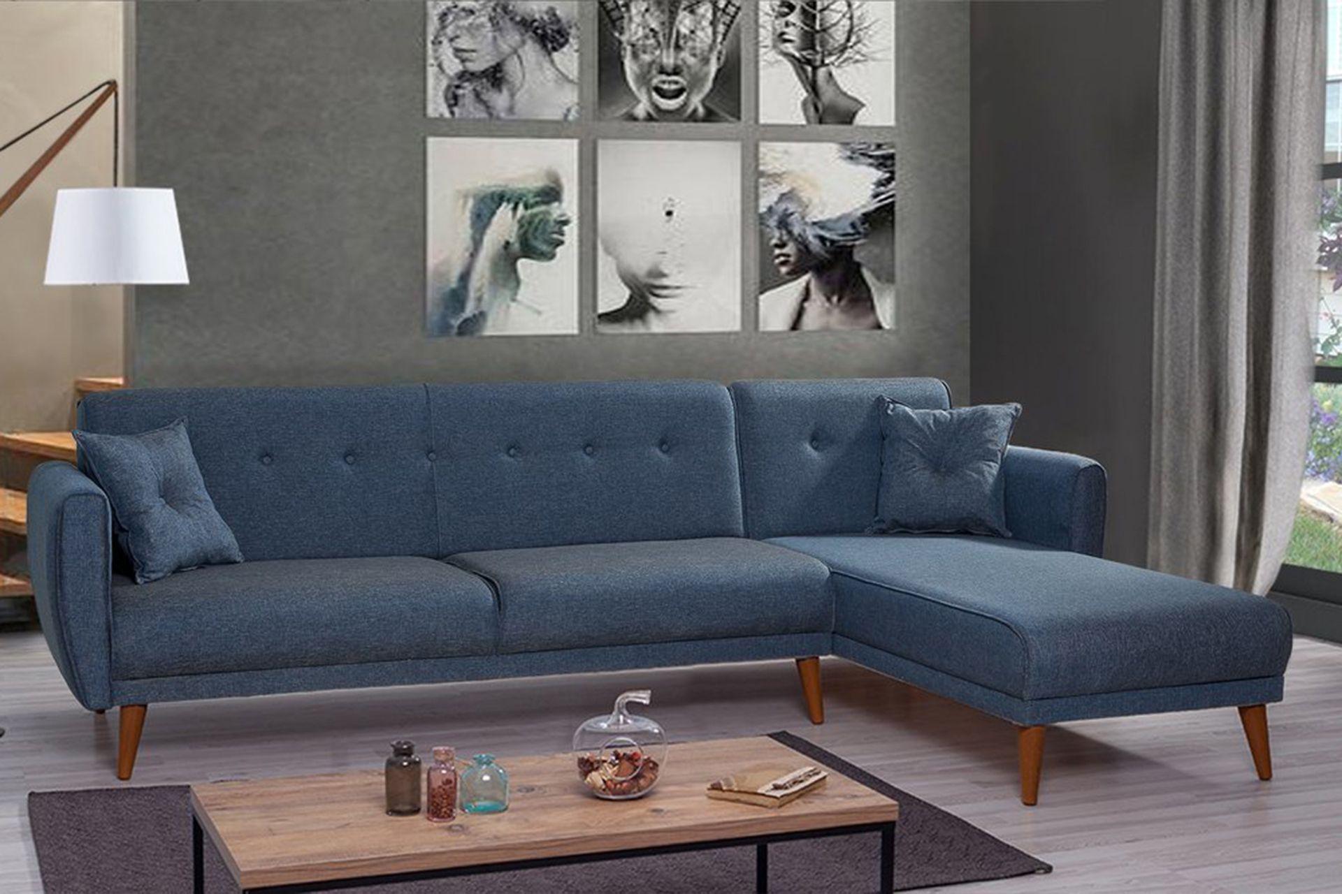 Aria corner Sofa Bed, Navy Blue (Right)