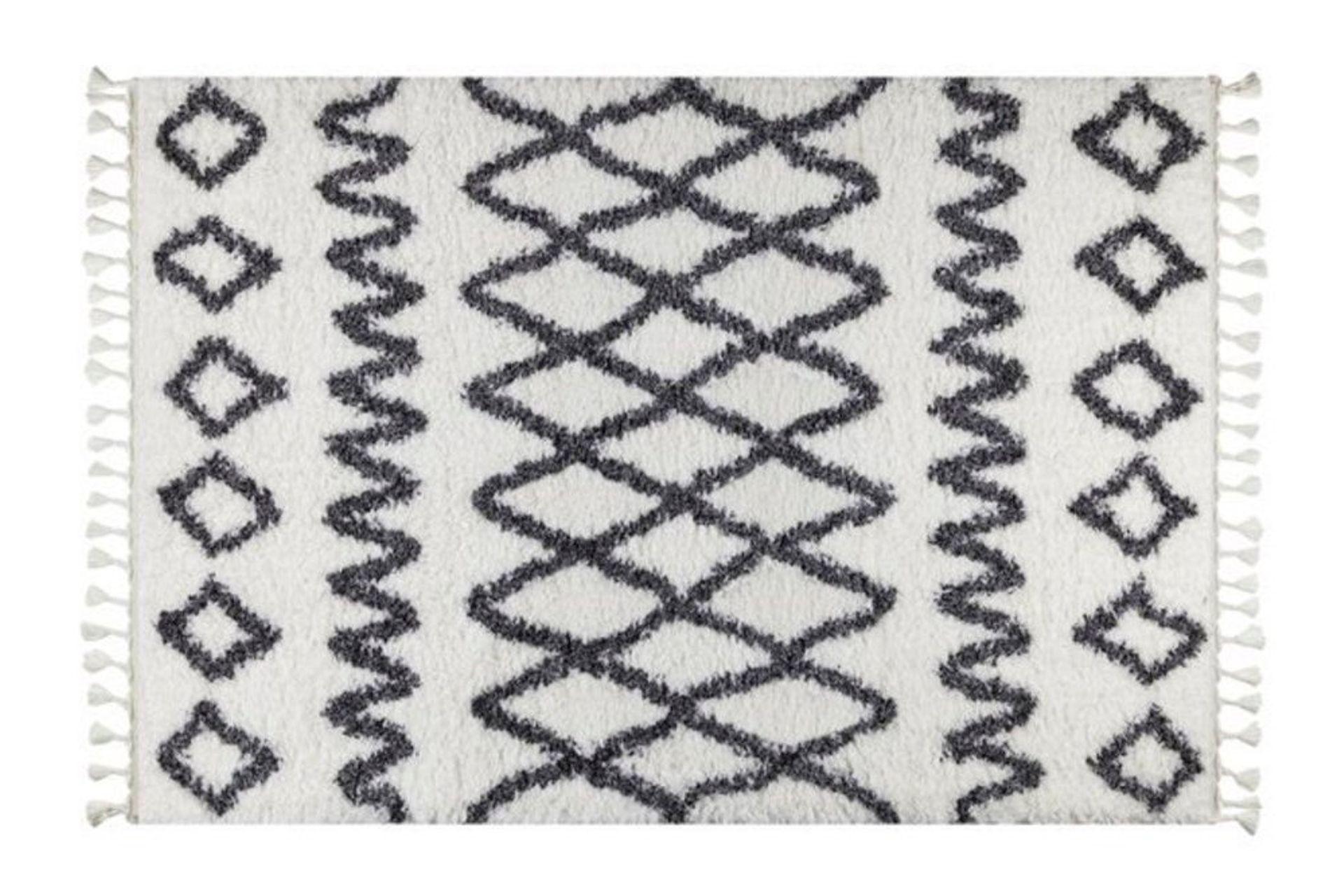 Marrakesh Pattern Rug, White & Anthracite Grey (Large)