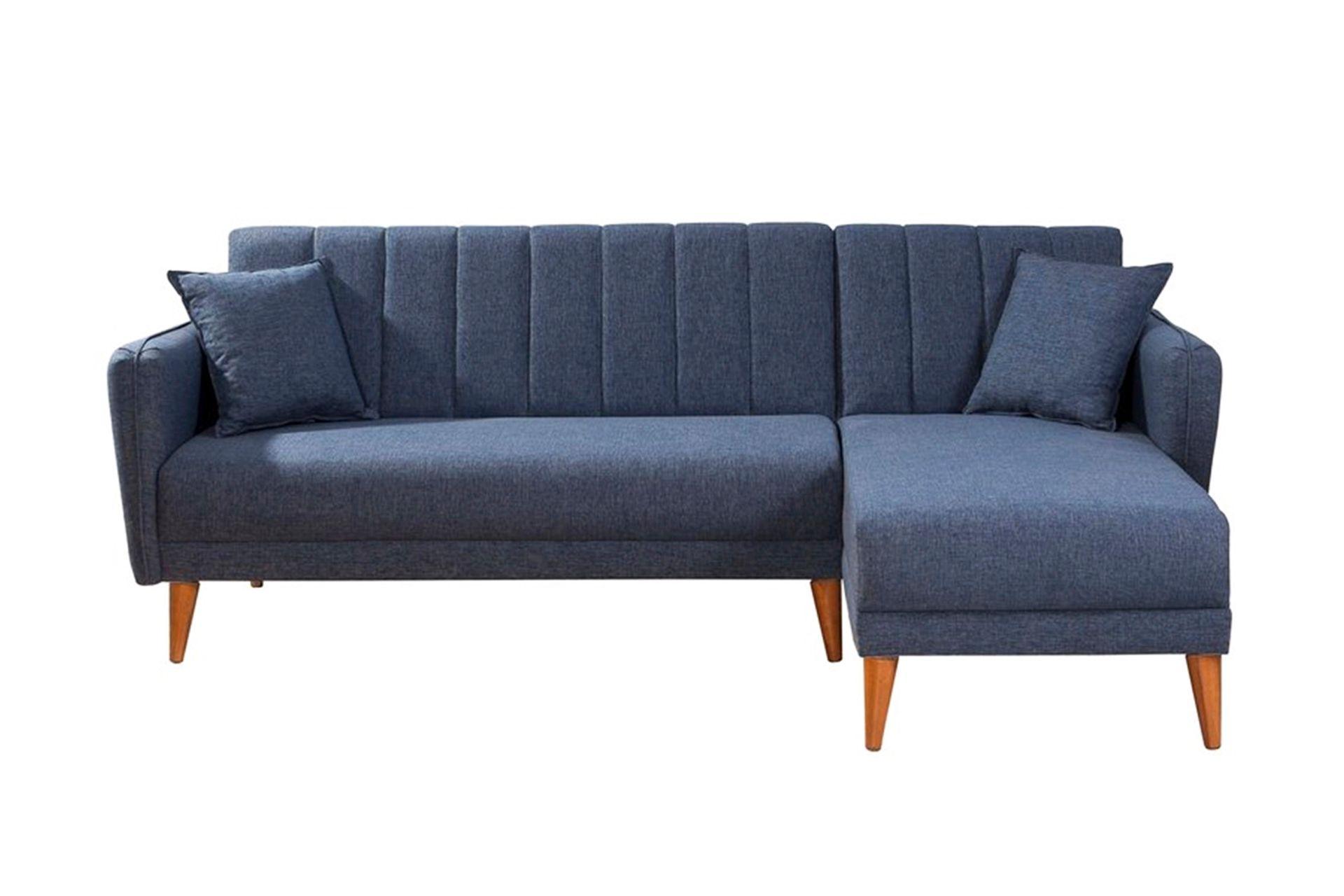 Aqua Corner Sofa Bed, Navy Blue (Right)