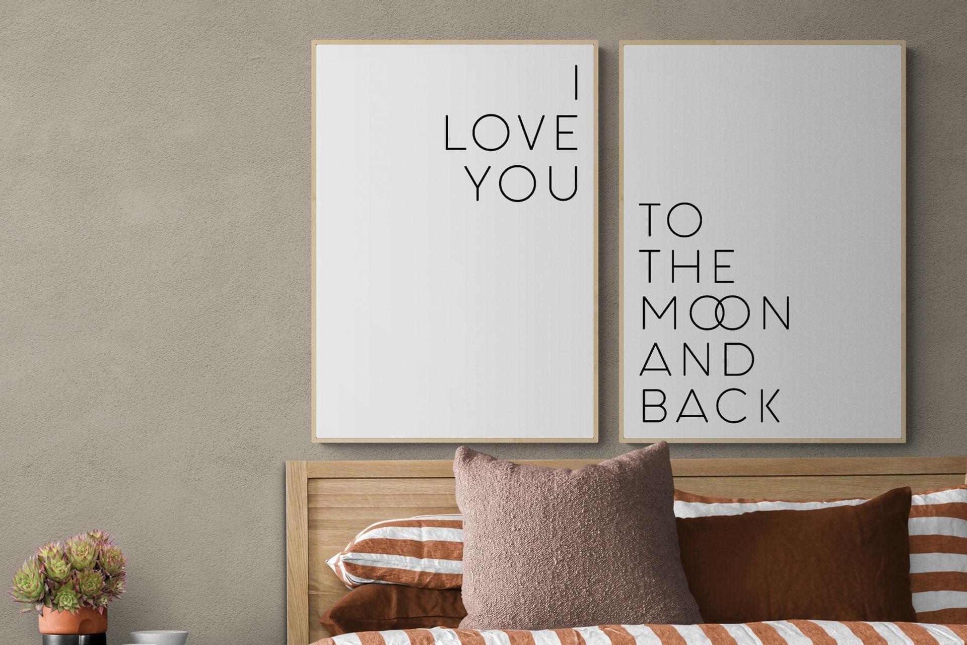 I LOVE YOU MOON THE BACK  NATURAL ÇERÇEVE TABLO SETİ 50x70