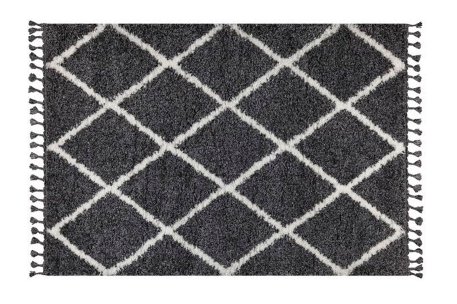 Marrakesh Line Rug, Anthracite Grey & White (Small)
