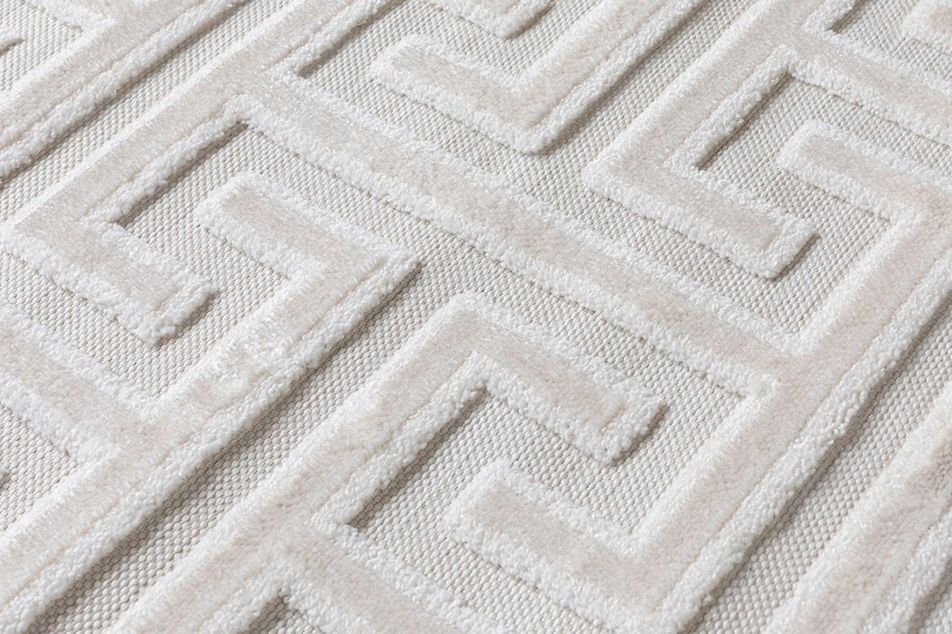 Julie Greek Key Woven Rug, 133 x 190, White