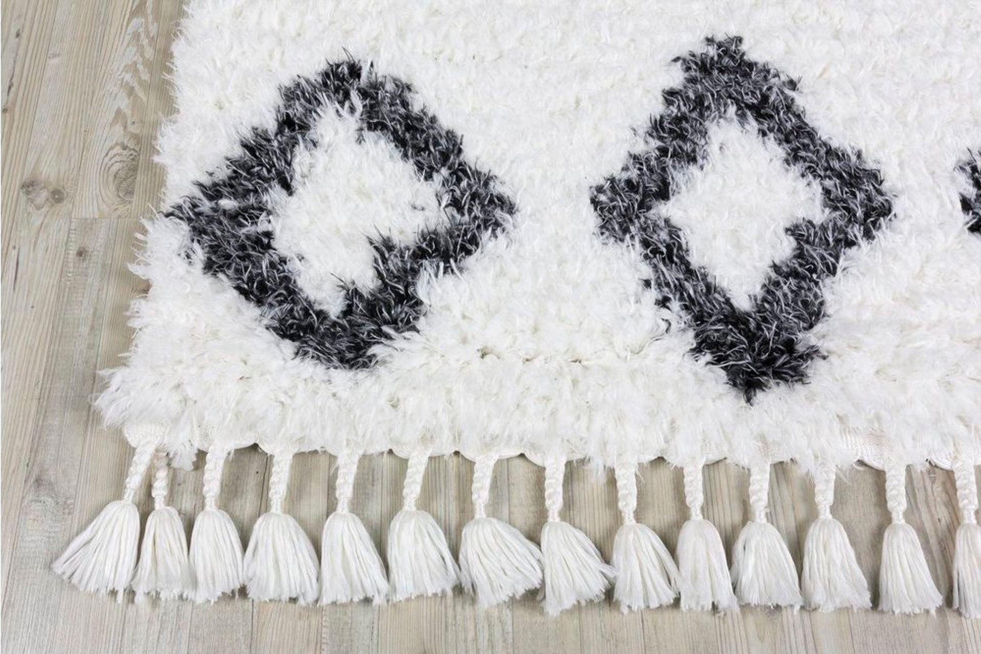 Marrakesh Pattern Rug, White & Anthracite Grey (Small)