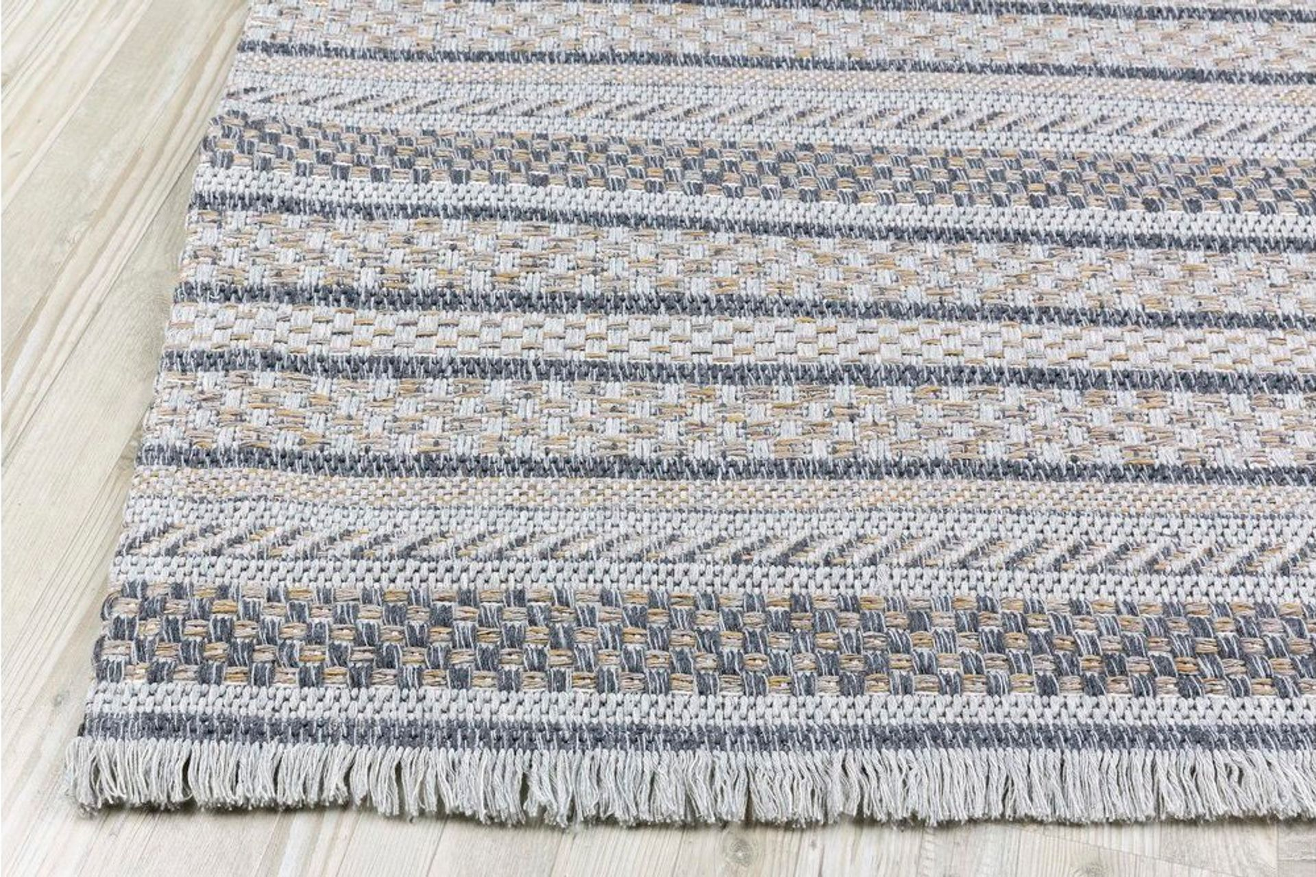 Petra Stripe Textured Woven Rug, 150 x 220, Grey