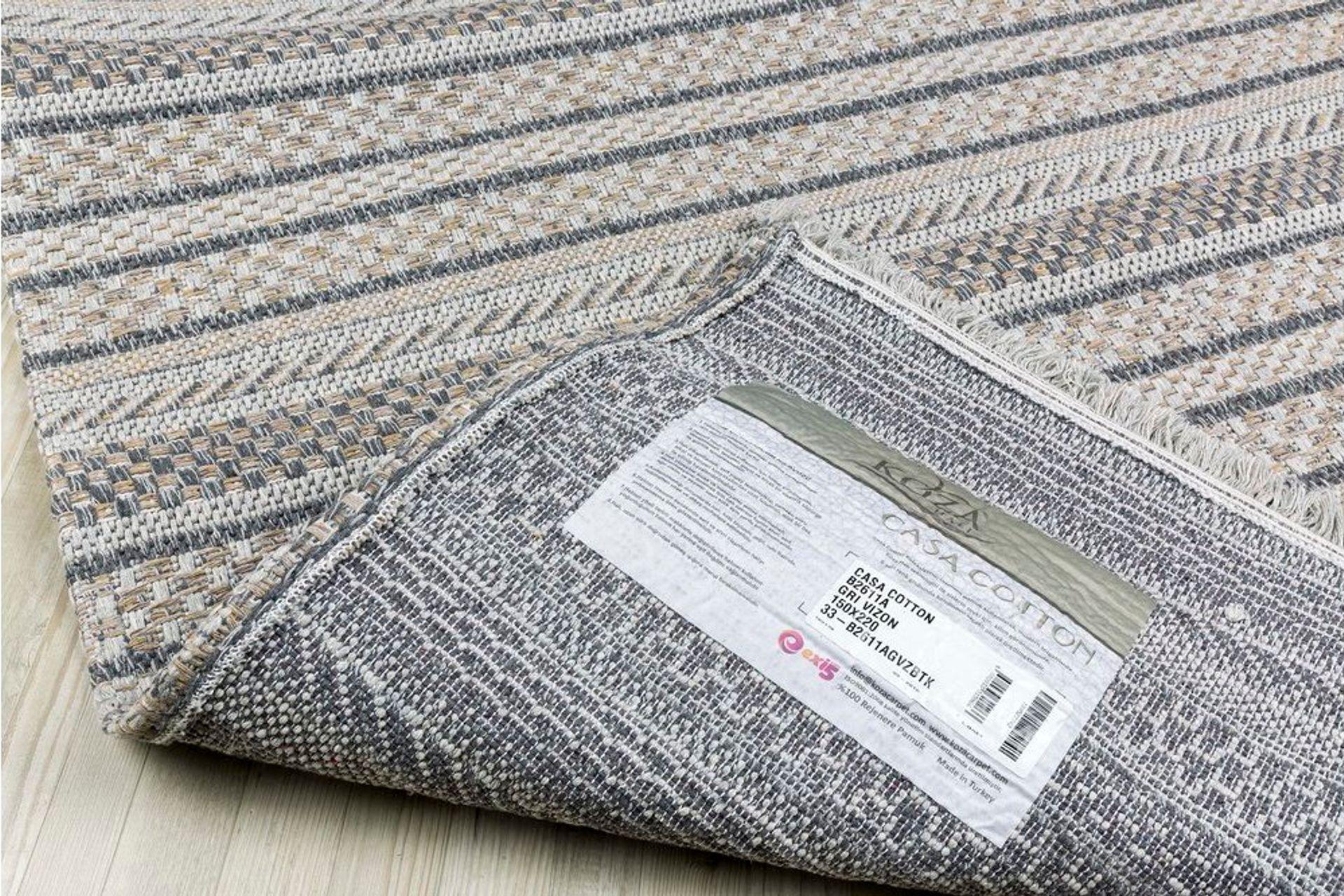 Petra Stripe Textured Woven Rug, 75 x 150, Grey