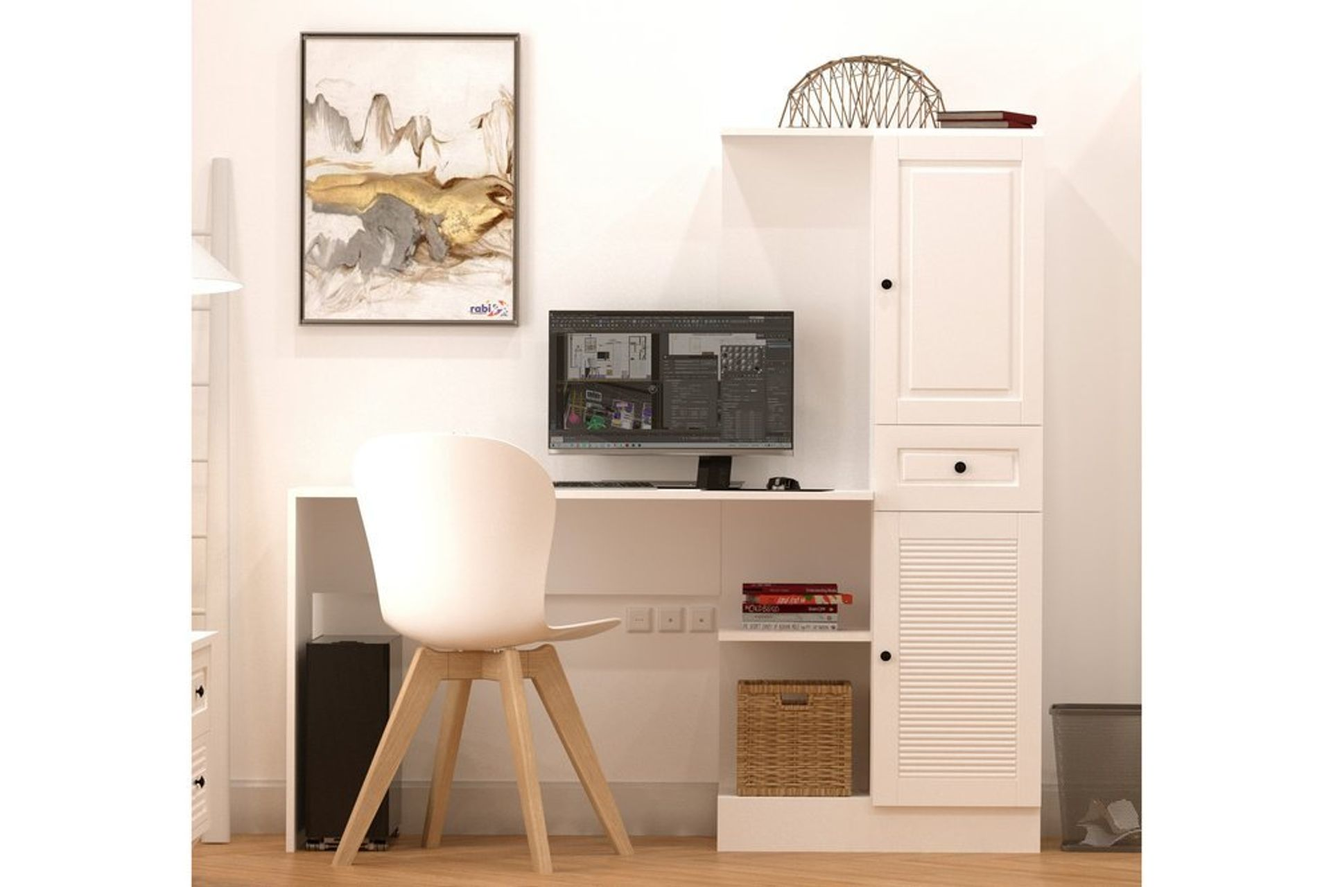 Izel Country Desk, White