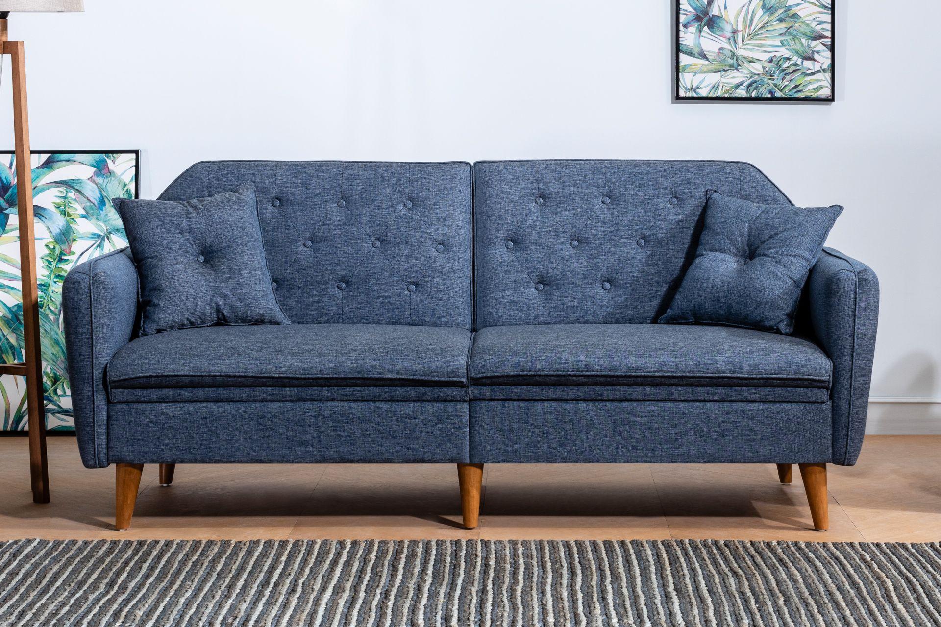 Terra Three Seater Sofa Bed, Navy Blue