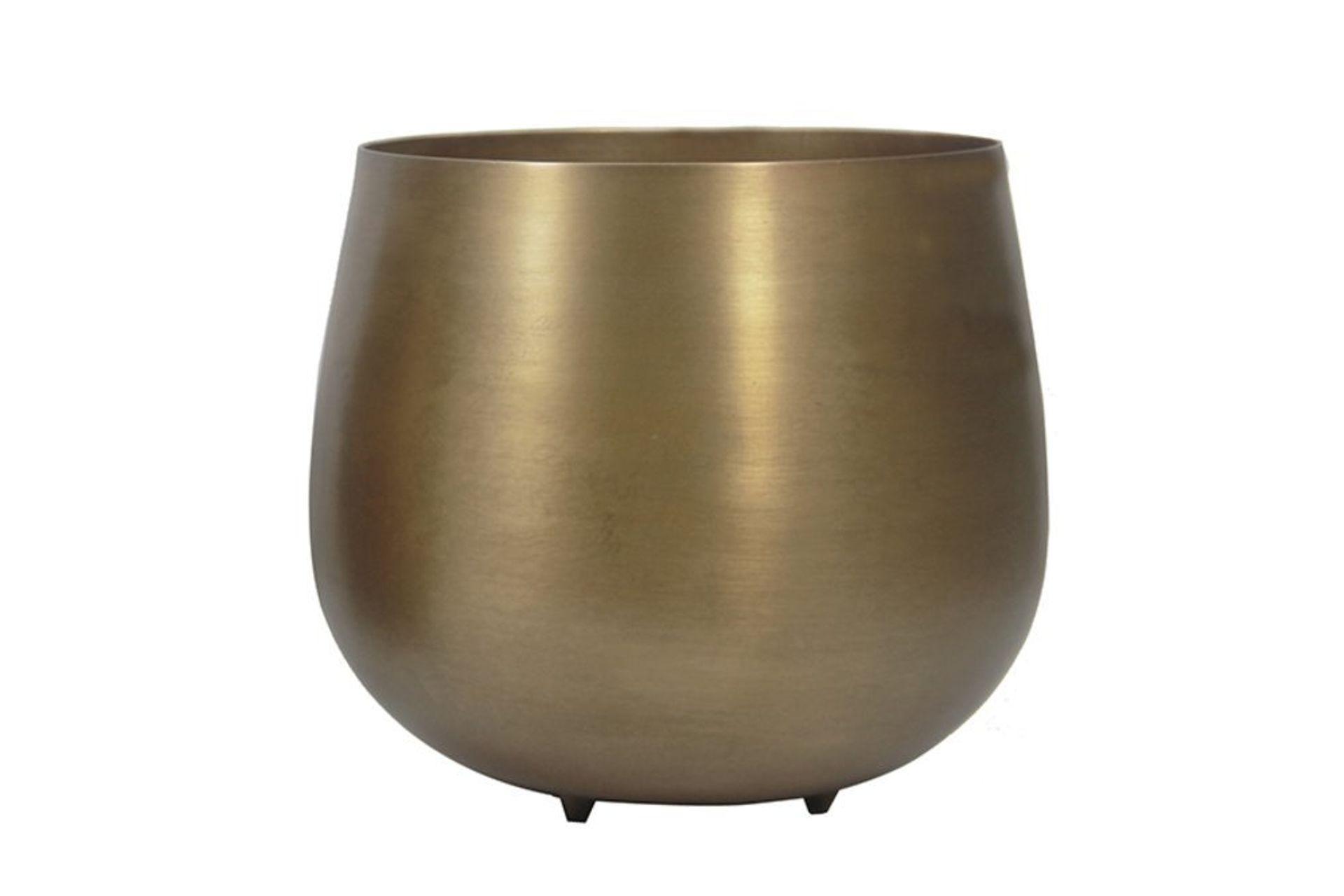 Moena Wide Metal Vase, Gold