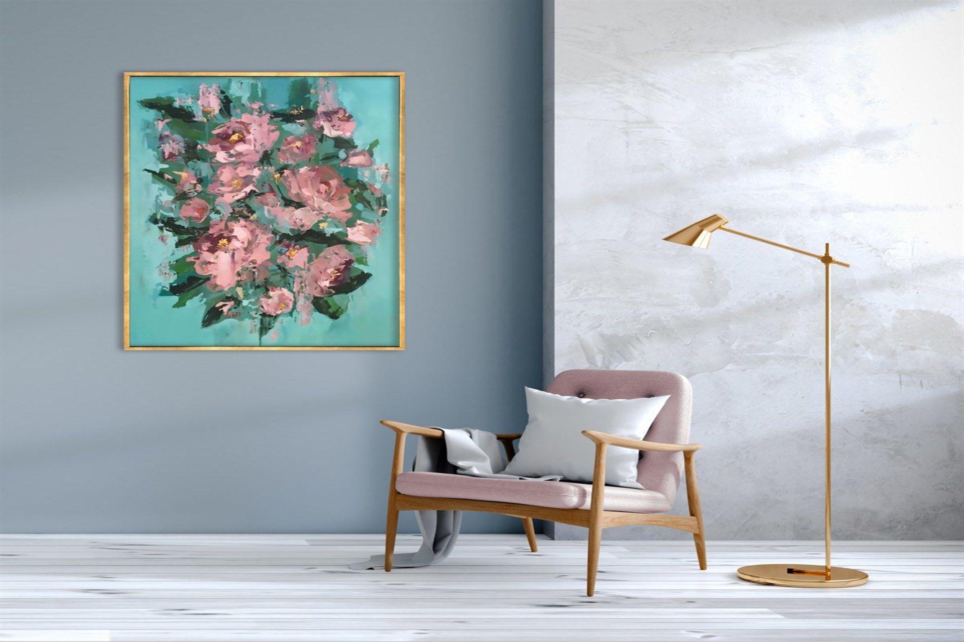 TABLOLİFE ABSTRACT PINK FLOWERS YAĞLI BOYA DOKULU TABLO  90X120 CM