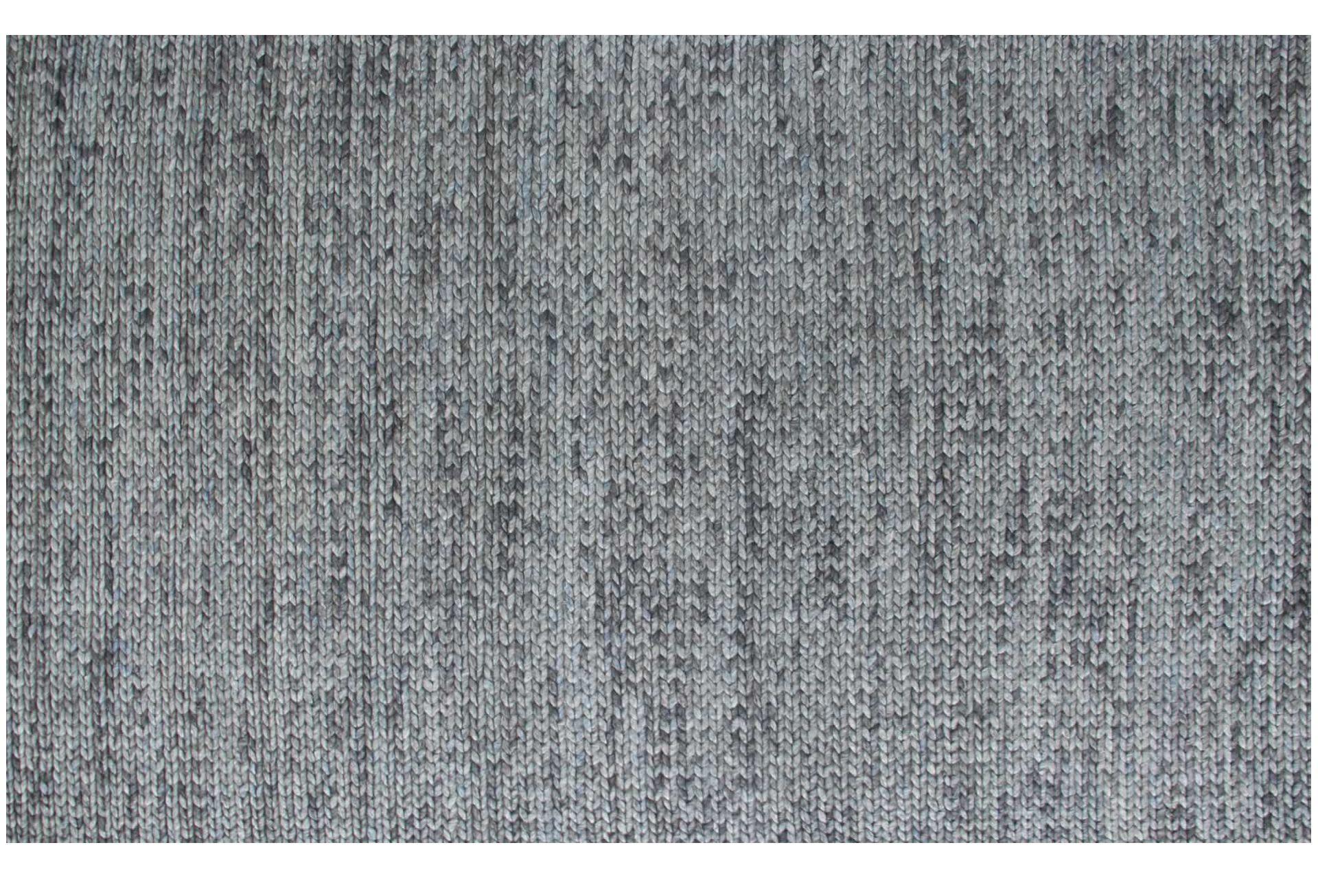 BADE GRİ SİYAH YÜN EL DOKUMA ÖRGÜ HALI 80x150
