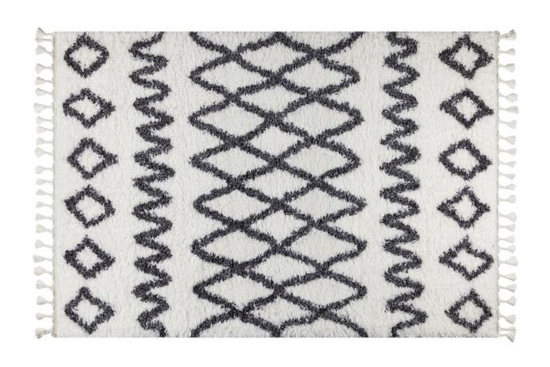 Marrakesh Pattern Rug, White & Anthracite Grey (Medium)