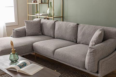Leo Corner Sofa, Grey (Left)