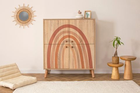 Iris Multipurpose Cabinet, Light Wood & Multi