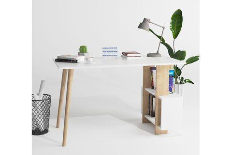 Lagomood Side Desk, White & Light Wood