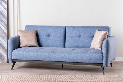 Futon Ron Three Seater Sofa Bed, Blue