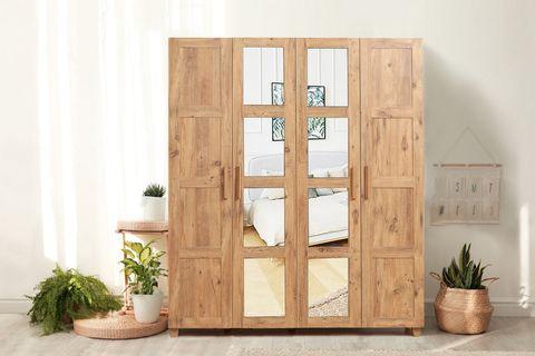 Victoria 4 Door Mirrored Wardrobe, Oak