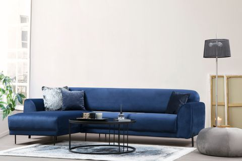Cloud Corner Sofa Bed, Blue (Left)