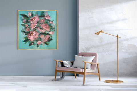 TABLOLİFE ABSTRACT PINK FLOWERS YAĞLI BOYA DOKULU TABLO  100X150 CM
