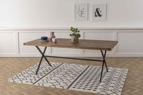 Matis 6-8 Seat Fixed Dining Table, Dark Wood & Black