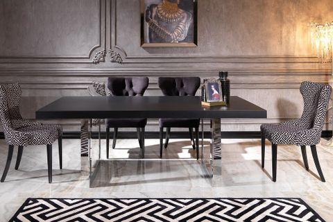 Nepal 6-8 Seat Fixed Dining Table, Black