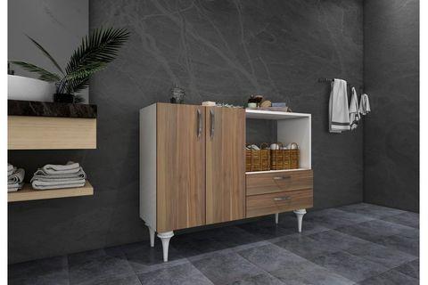 Ignis Multipurpose Bathroom Cabinet, White & Dark Wood