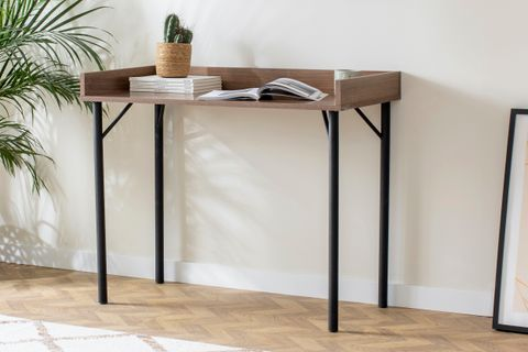 Loft Home Desk, Dark Wood & Black