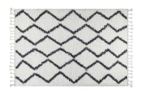 Marrakesh Zig-Zag Rug, White & Anthracite Grey (Small)
